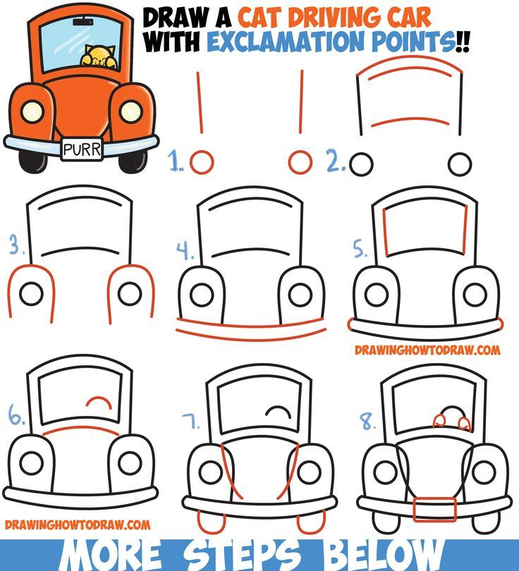 736x810 How To Draw Cute Cartoon Cat Driving A Car From Exclamation Points