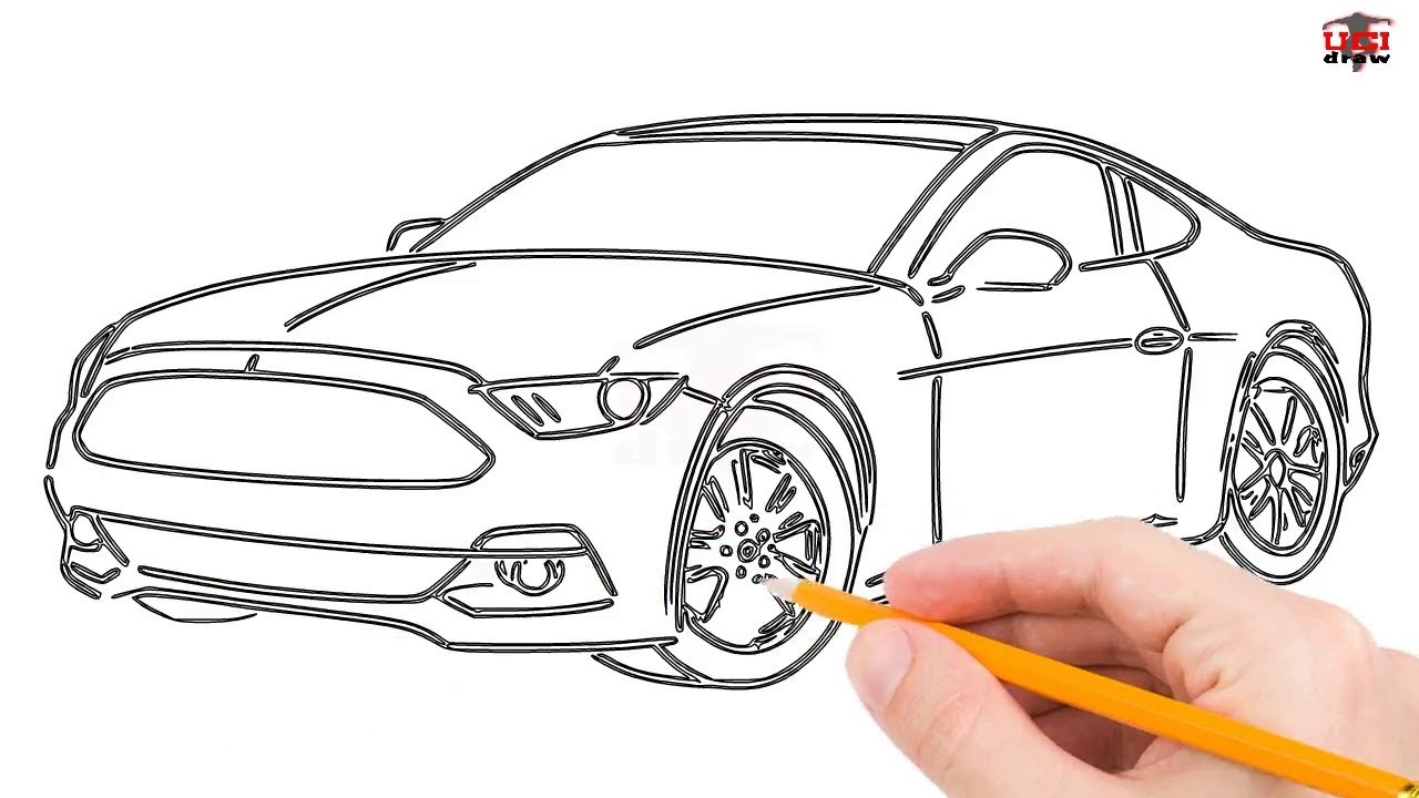 1280x720 How To Draw A Mustang Car Step By Step Easy For Beginnerskids
