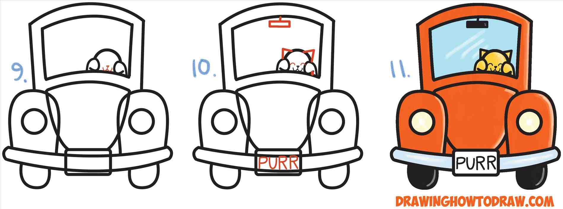 1899x706 The Images Collection Of For Kids Cars To Draw Cute Cartoon Cat