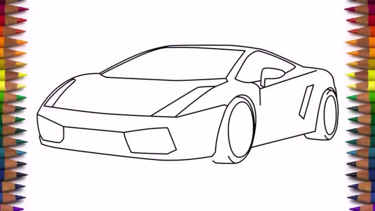 1280x720 How To Draw A Car Lamborghini Gallardo Easy Step By Step For Kids