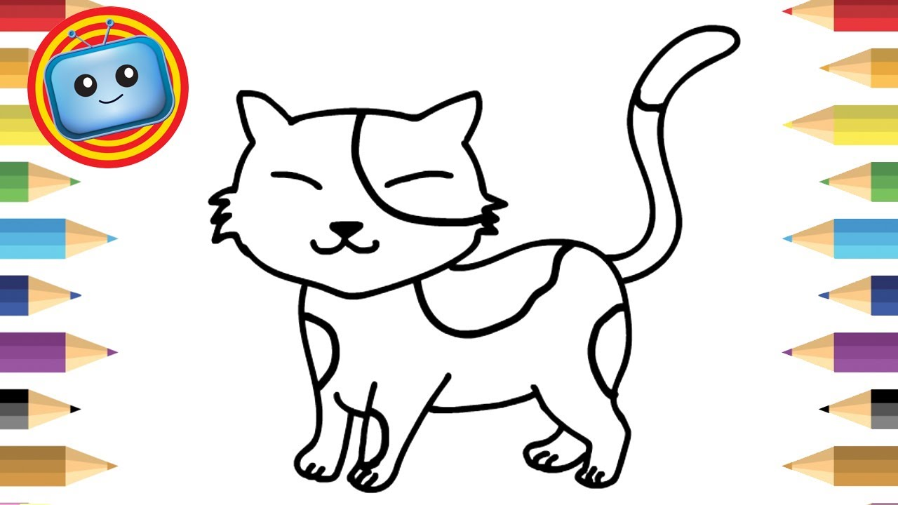 1280x720 How To Draw A Cat For Kids Simple Drawing Game Animation