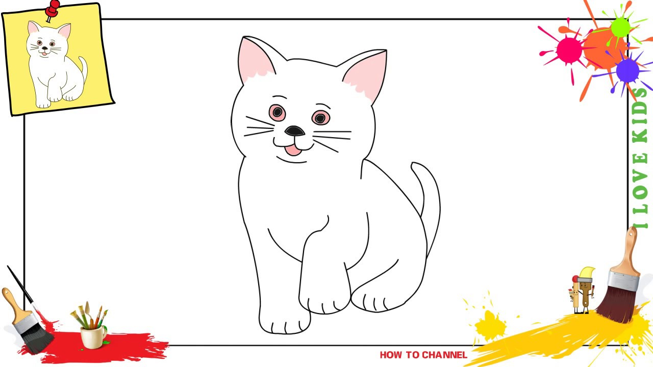 1280x720 How To Draw A Cat 3 Simple, Easy Amp Slowly Step By Step For Kids
