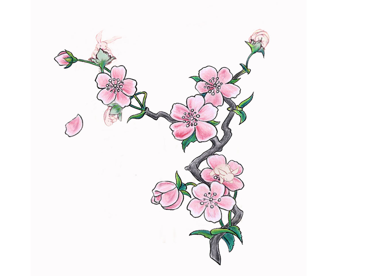 1280x960 Simple Cherry Blossom Tattoo On Side Rib