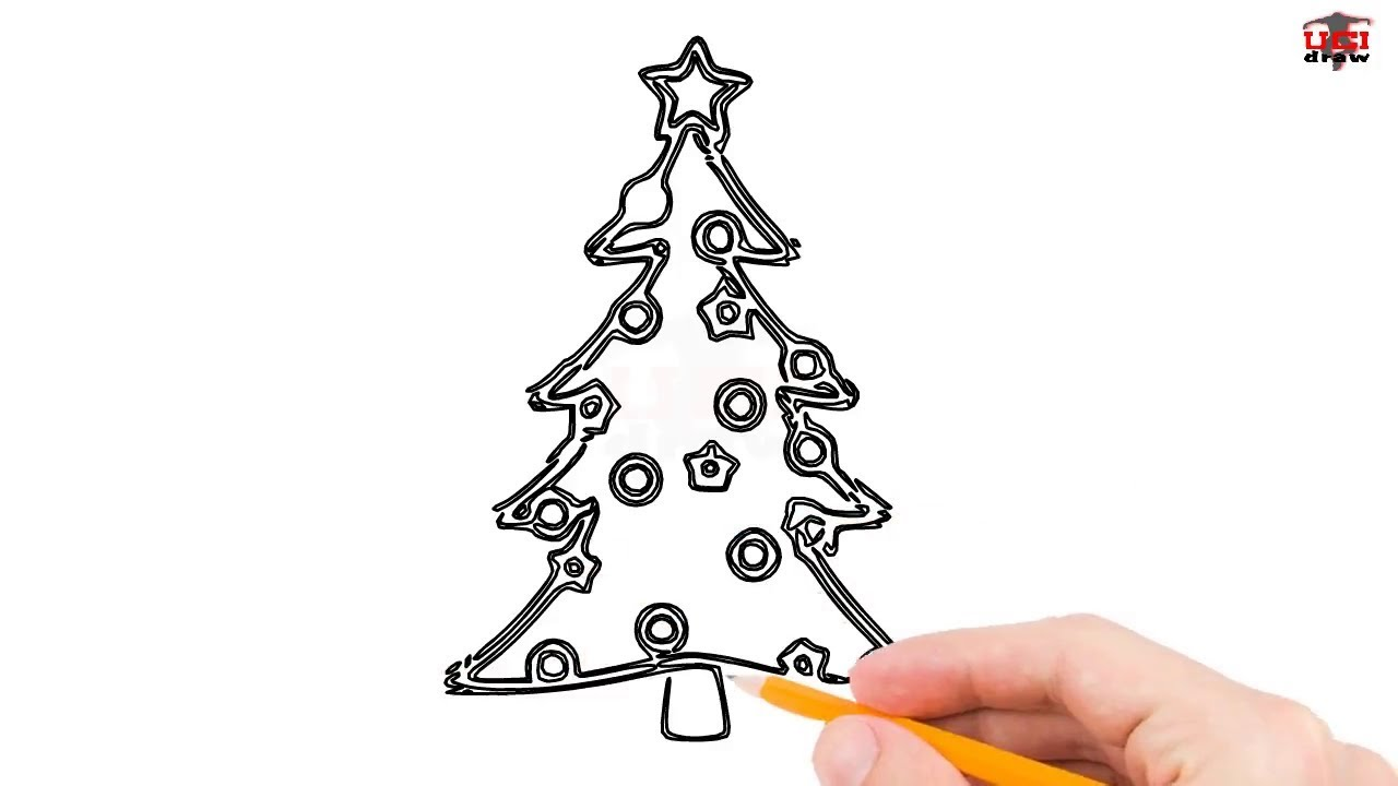 1280x720 How To Draw A Christmas Tree Step By Step Easy For Beginnerskids