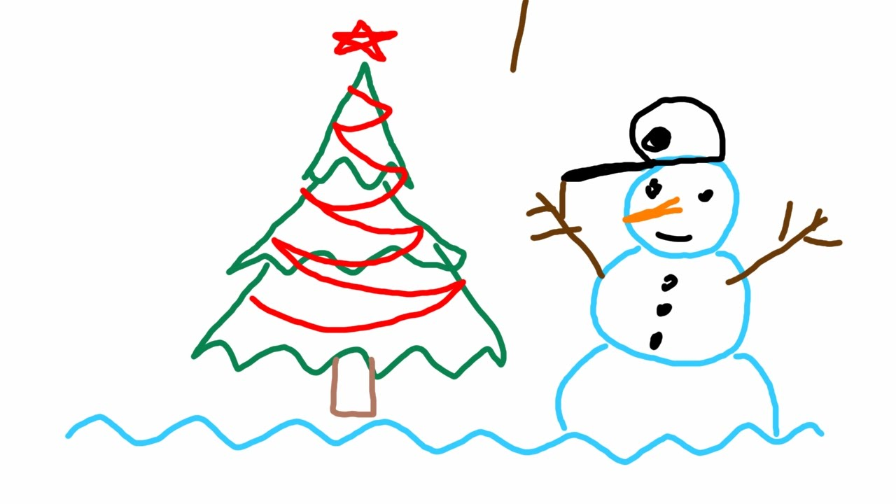 1280x720 How To Draw Easy Simple Christmas Tree And Snowman Using Triangles