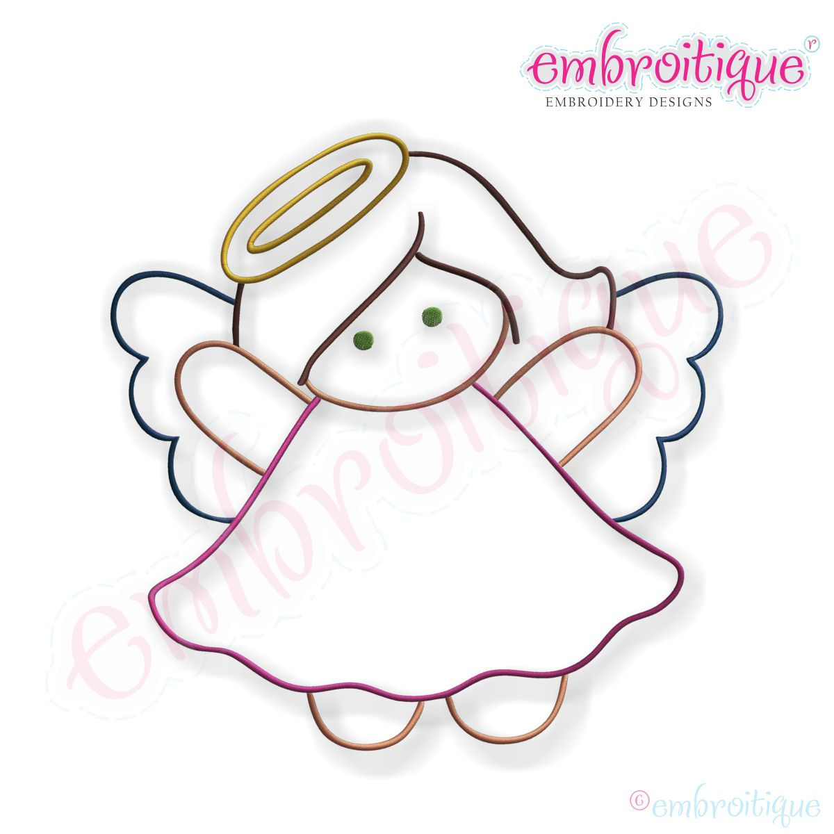 1200x1200 Simple Christmas Angel Embroidery Design