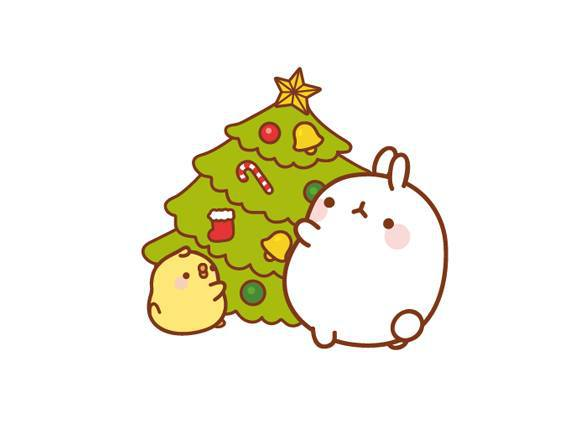 578x423 Christmas Cute Drawing Lovely Molang Rabbit Simple Tree