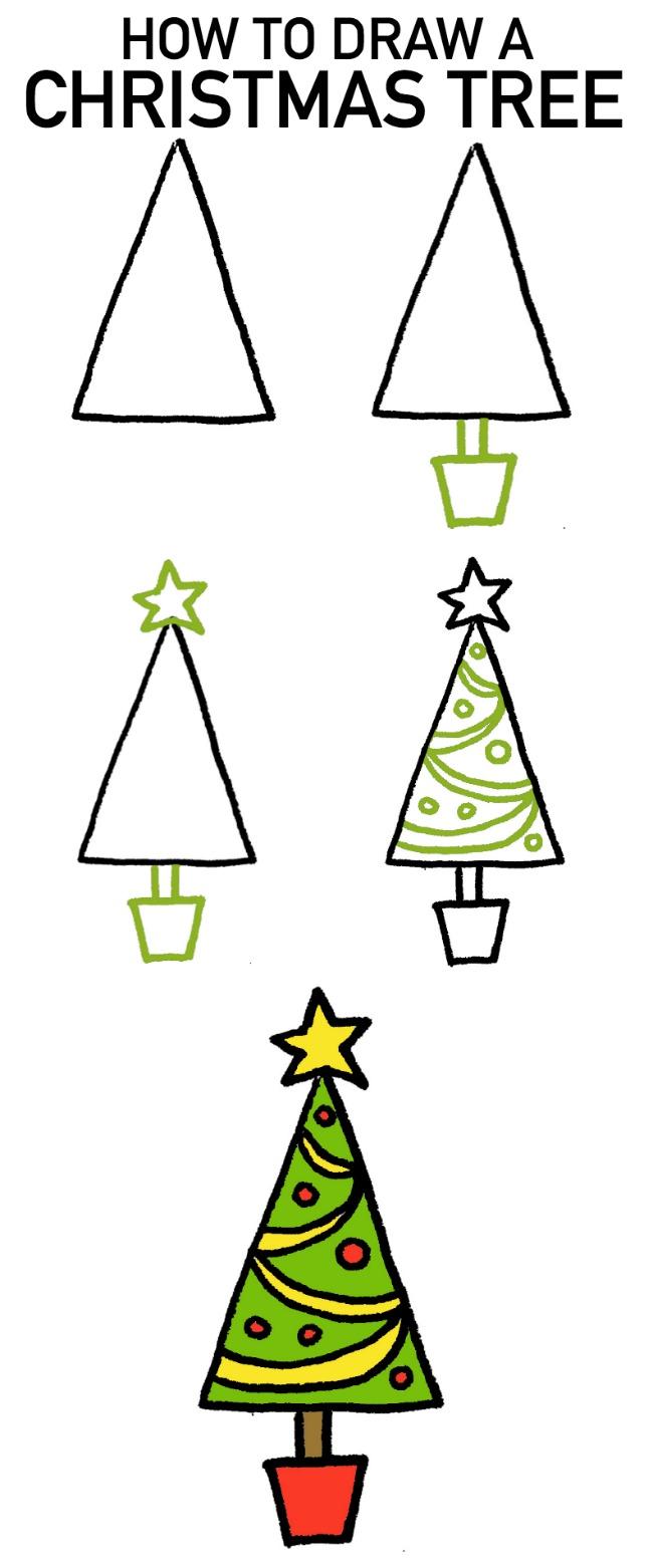 650x1562 How To Draw A Christmas Tree 4 Cartoon Tutorials