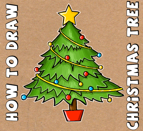 500x457 how to draw a christmas tree with simple step by step tutorial - Simple Christmas Drawings