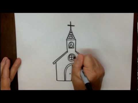 480x360 How To Draw A Church Step By Step Simple Easy Tutorial