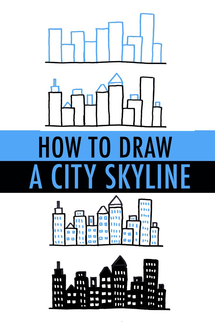 736x1102 How To Draw A City Skyline 3 Ways Simple Shapes, City Skylines