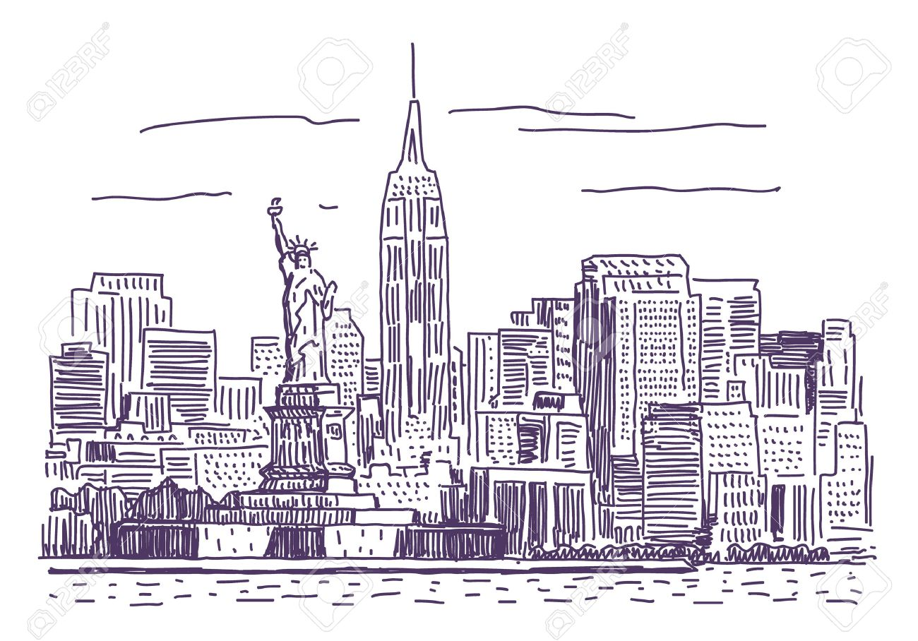 1300x908 New York Simple Drawing Illustration Royalty Free Cliparts