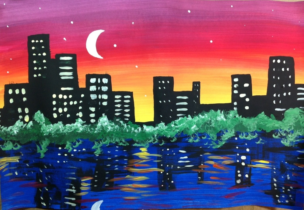 1024x707 Night City Skyline Painting Lesson Night City, City Skylines