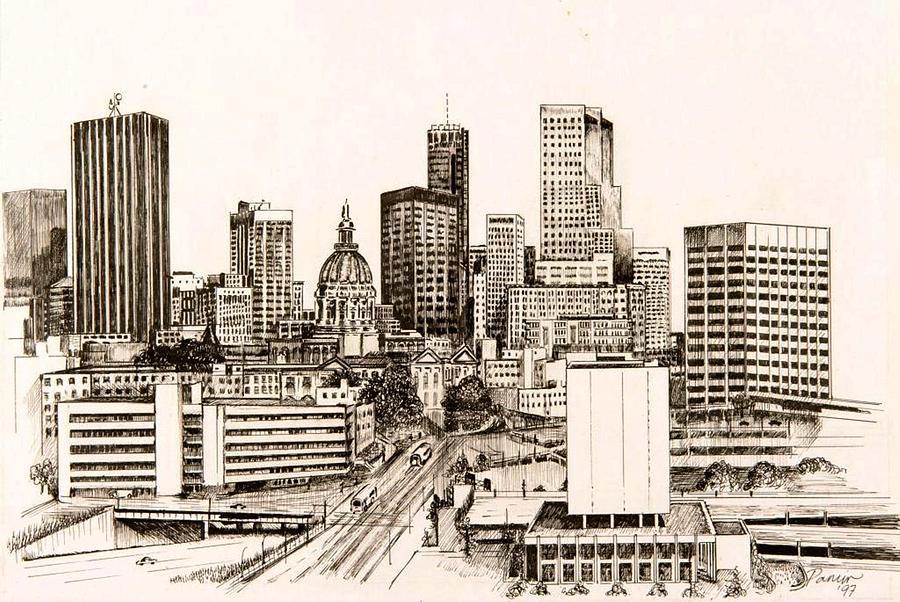 900x602 Atlanta Skyline Drawing By Pamir Thompson