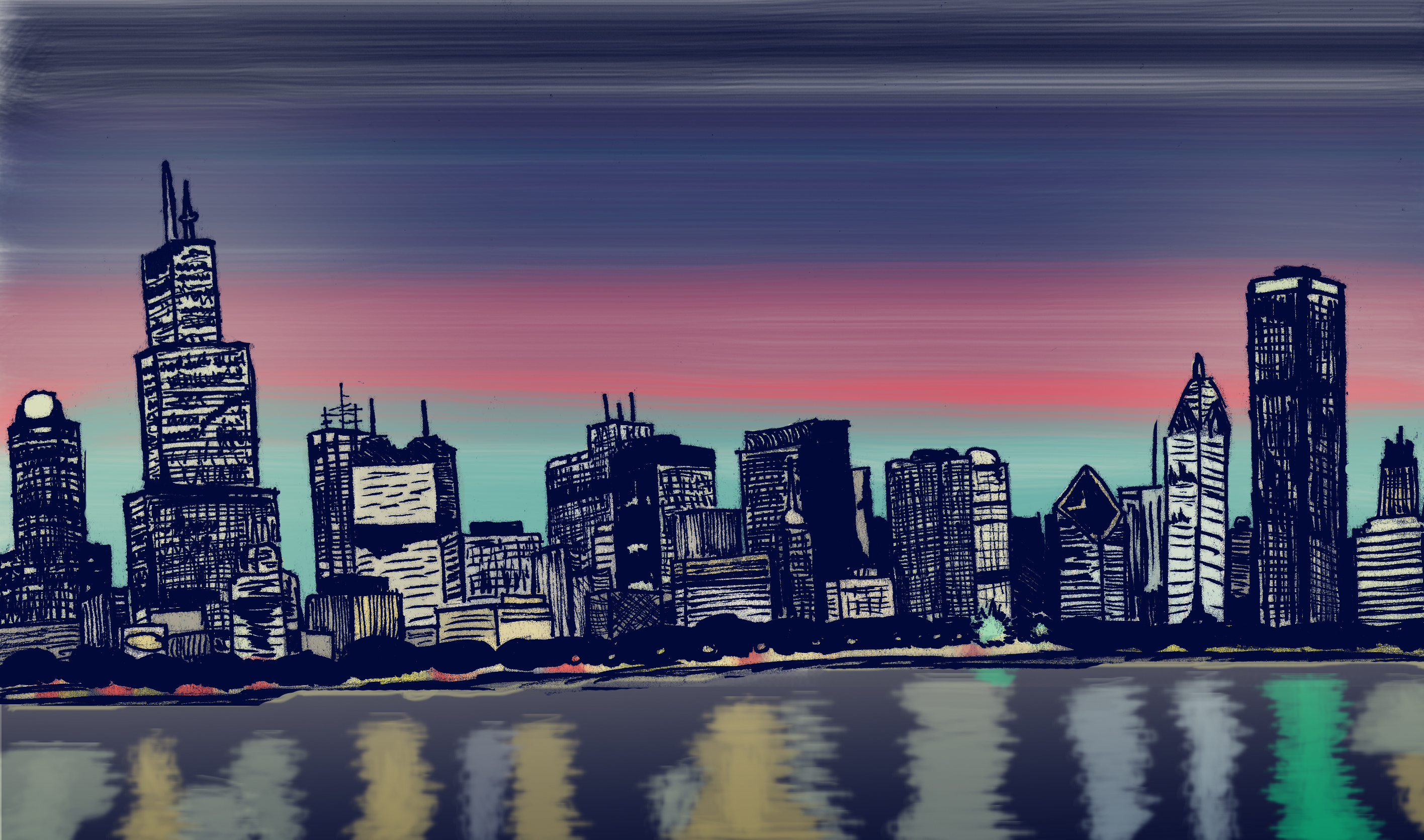 Simple Cityscape Drawing at GetDrawings | Free download
