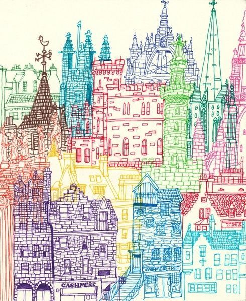 490x600 Image Result For Simple Cityscape Drawings In Colour Skylines
