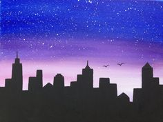 236x177 Night City Skyline Painting Lesson Night City, City Skylines
