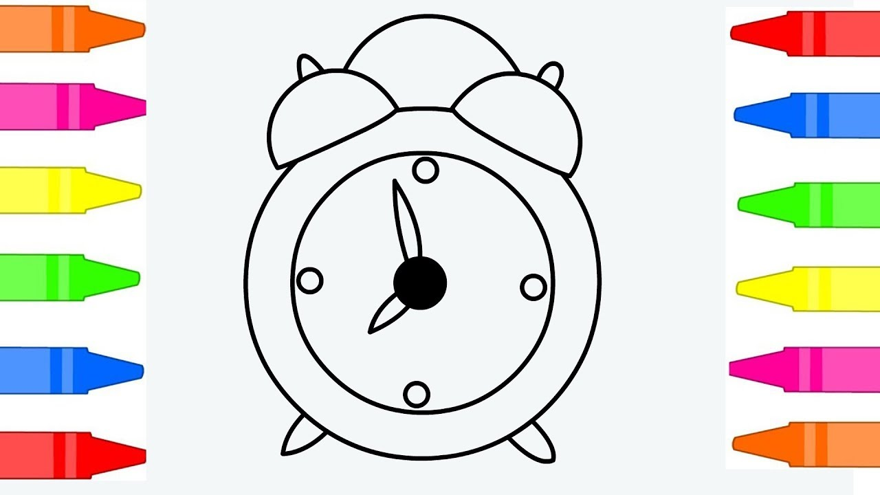 1280x720 How To Draw Alarm Clock Coloring Pages For Kids Children Learn
