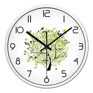 355x355 Ling @ Wall Clock Drawing Creative Bedroom Mute Round And Modern