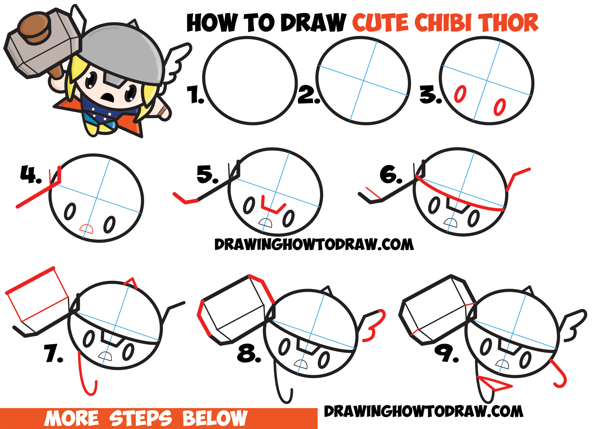 2000x1451 How To Draw Cute Chibi Kawaii Thor From Marvel Comics In Easy