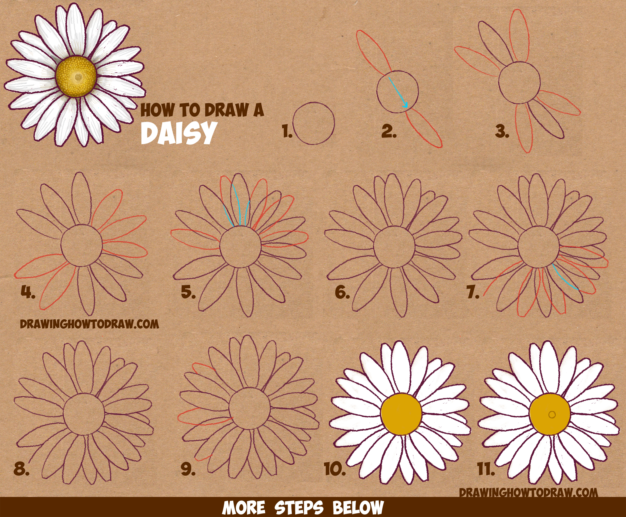 2500x2064 How To Draw A Daisy Flower (Daisies) In Easy Step By Step Drawing