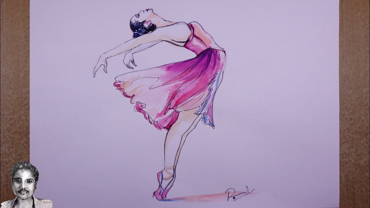 1280x720 Watercolor Painting Easy Step By Step A Dancing Girl