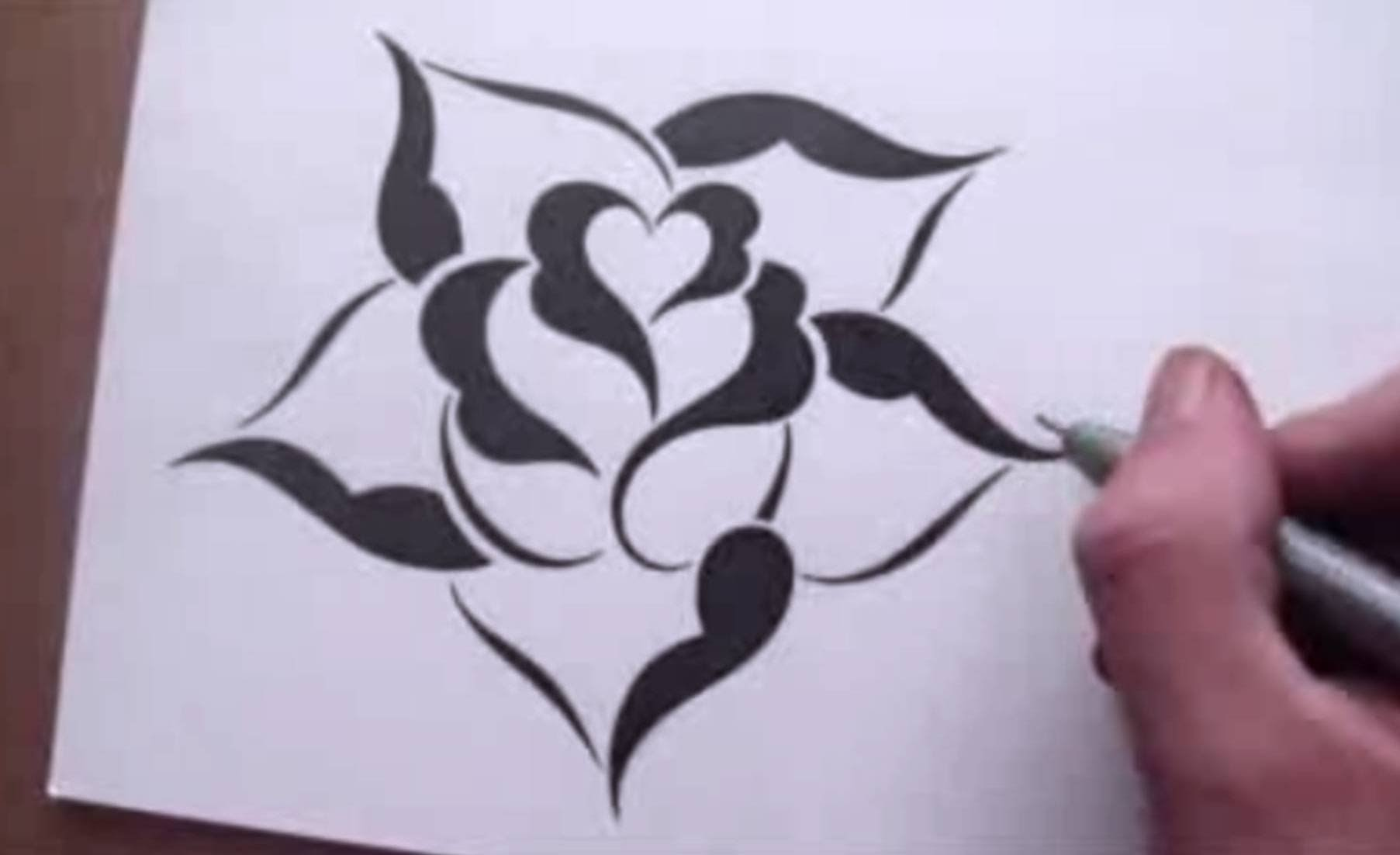 1805x1102 Drawing A Rose In A Simple Stencil Design Style