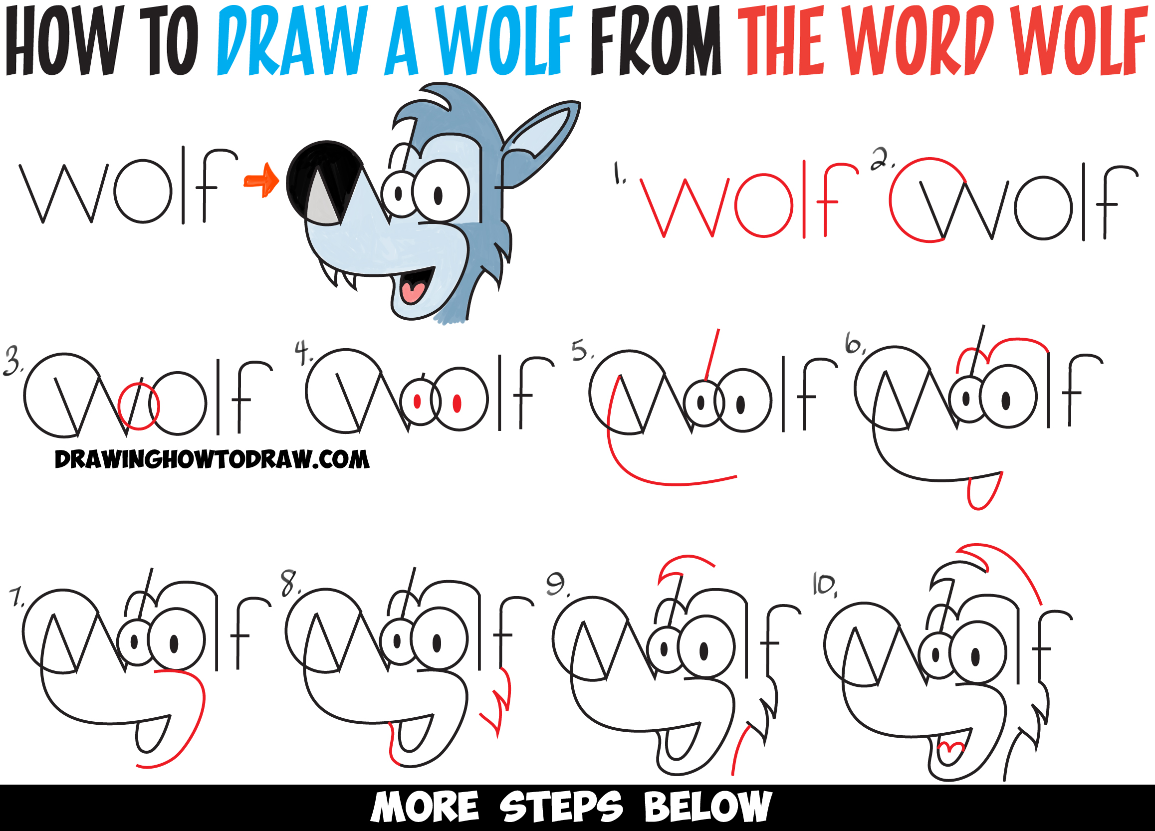 2315x1666 How To Draw Cartoon Wolves From The Word Wolf Easy Steps Drawing