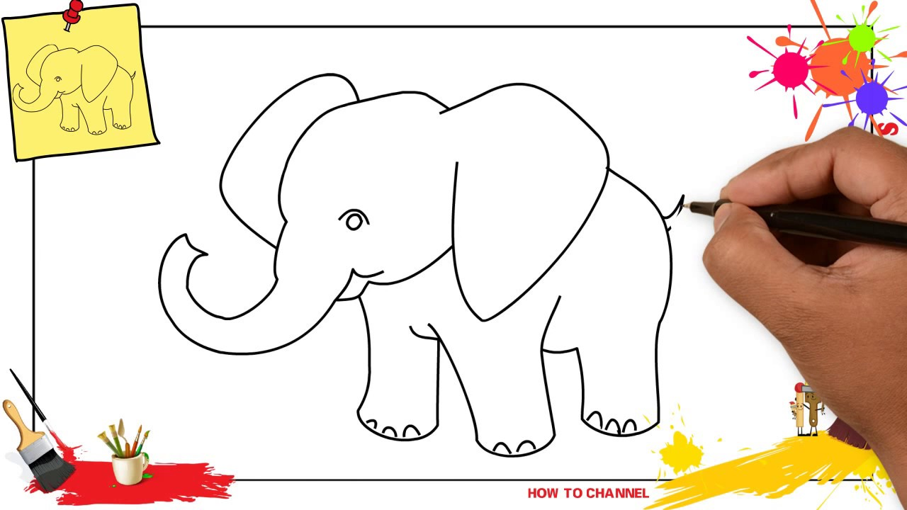 1280x720 How To Draw An Elephant Simple Amp Easy Step By Step For Kids