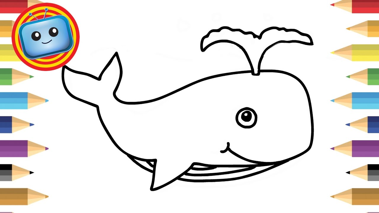 1280x720 How To Draw A Pink Whale And Fish Simple Drawing Game For Kids