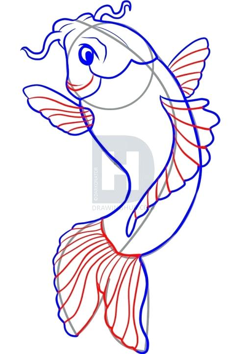 510x720 Simple Fish Drawing Step 4 Simple Fish Line Drawing