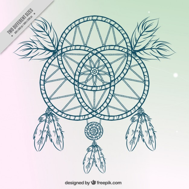 626x626 Hand Drawn Dream Catcher On A Simple Background Vector Free Download