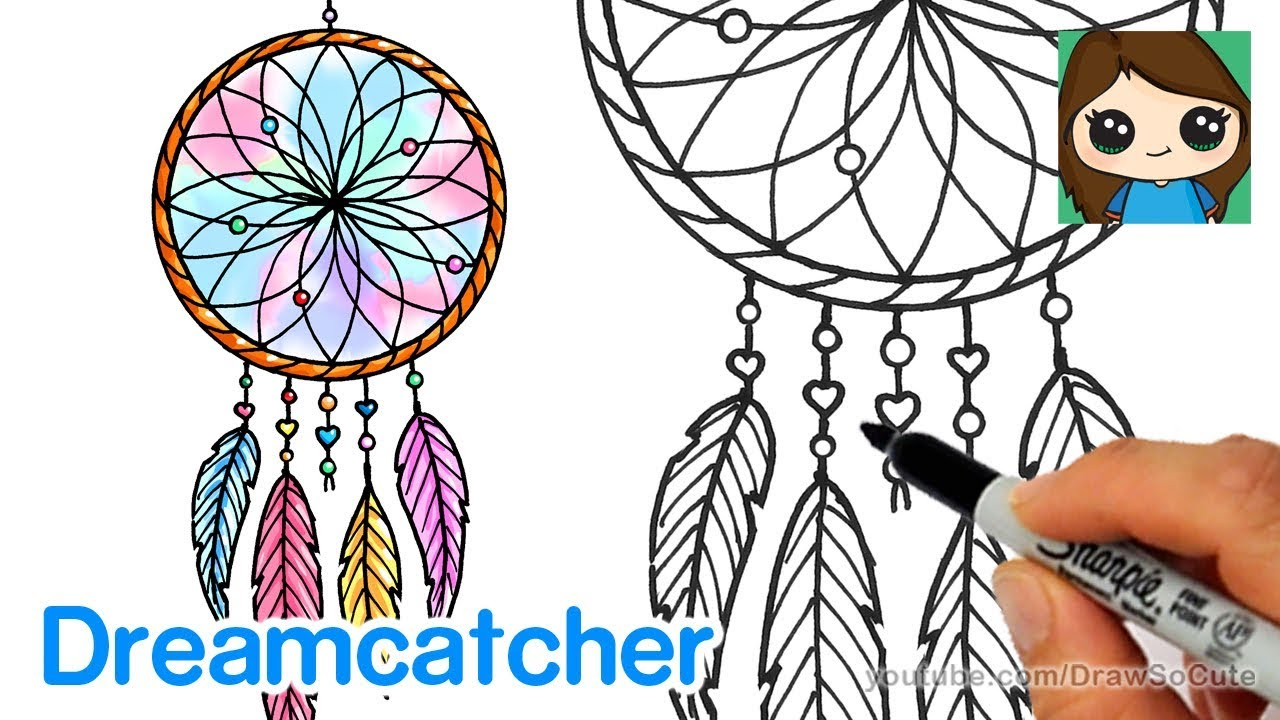1280x720 How To Draw A Dream Catcher Easy