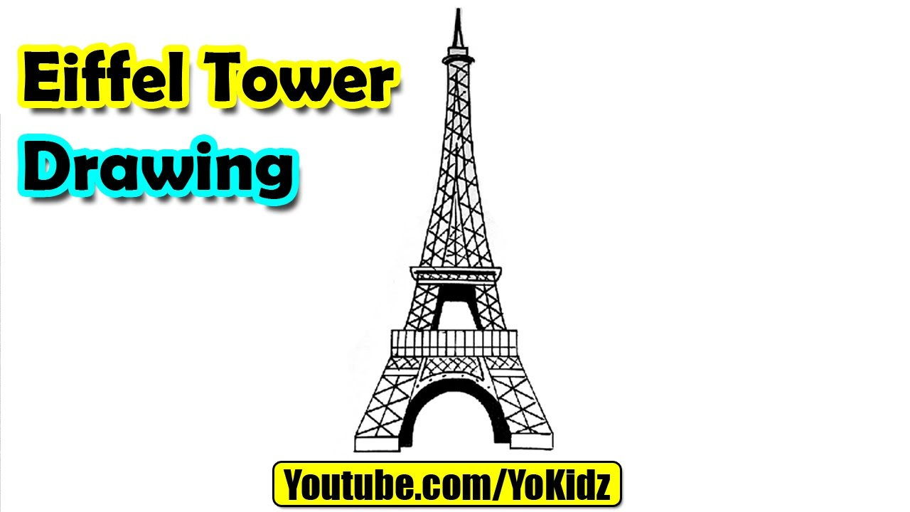 1280x720 How To Draw Eiffel Tower For Kids