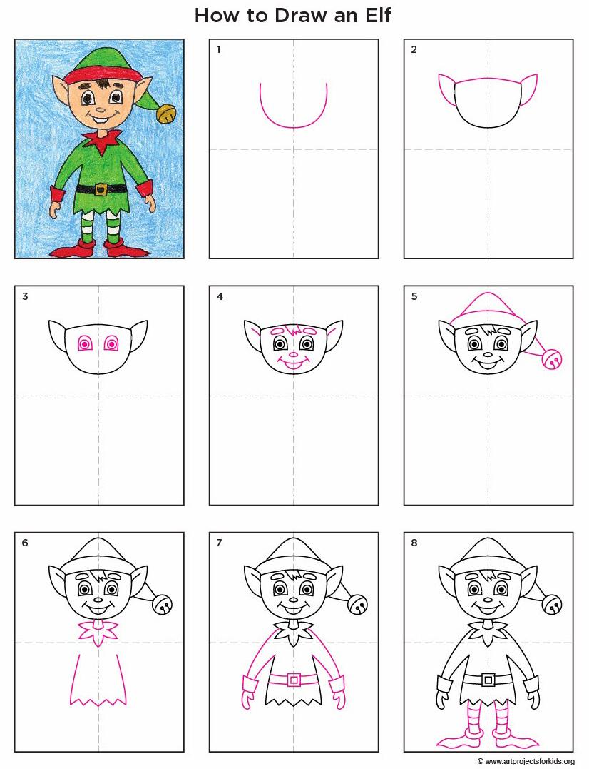826x1077 Draw An Elf