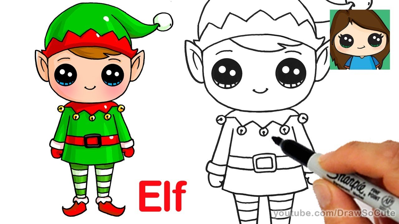 1280x720 How To Draw A Christmas Elf Easy And Cute
