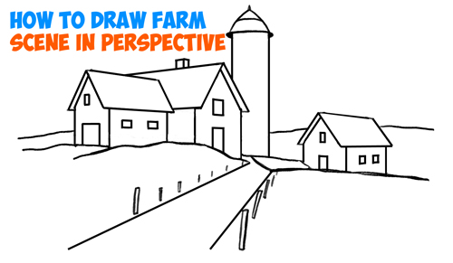 500x291 How To Draw Farm Scene Fall Spring Scene In Three Point