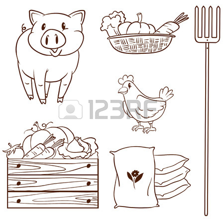450x439 Illustration Of A Simple Drawing Of A Farm Girl On A White