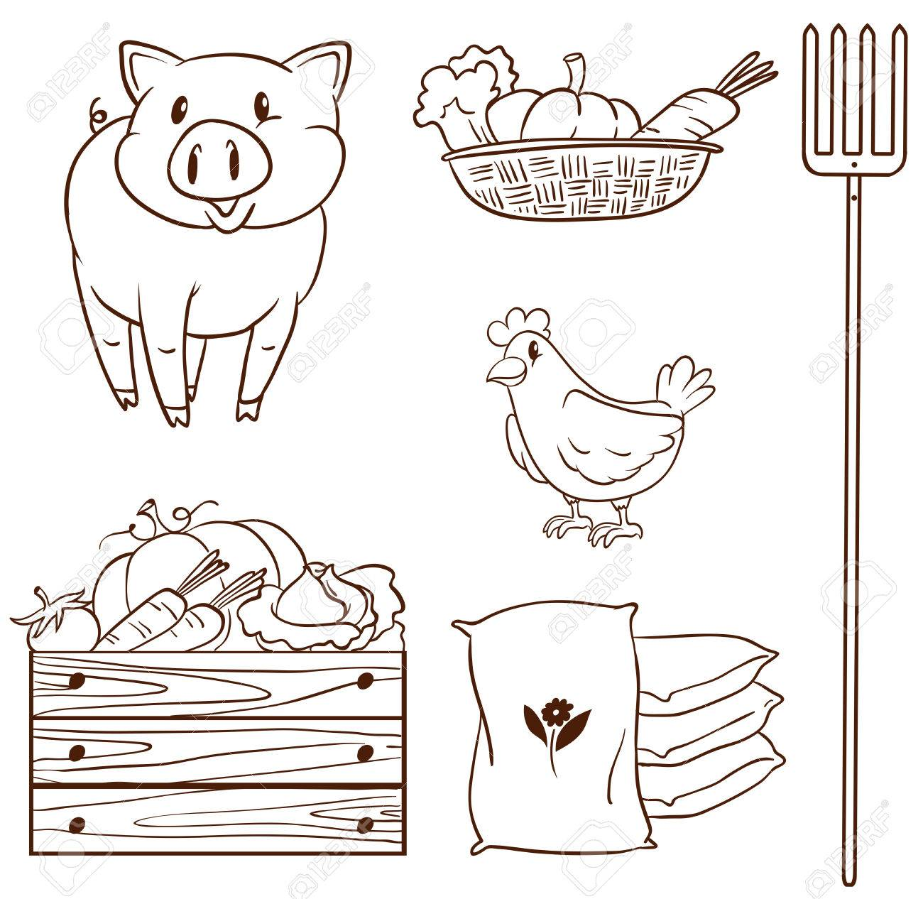 1300x1266 Illustration Of A Simple Sketch Of Farm Animals And