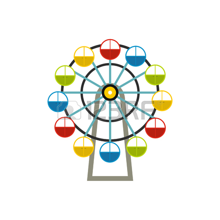 450x450 Ferris Wheel Icon In Outline Style On A White Background Vector