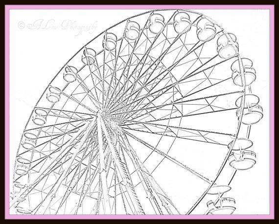570x458 Ferris Wheel Photography Pencil Drawing Summer Sketch Print