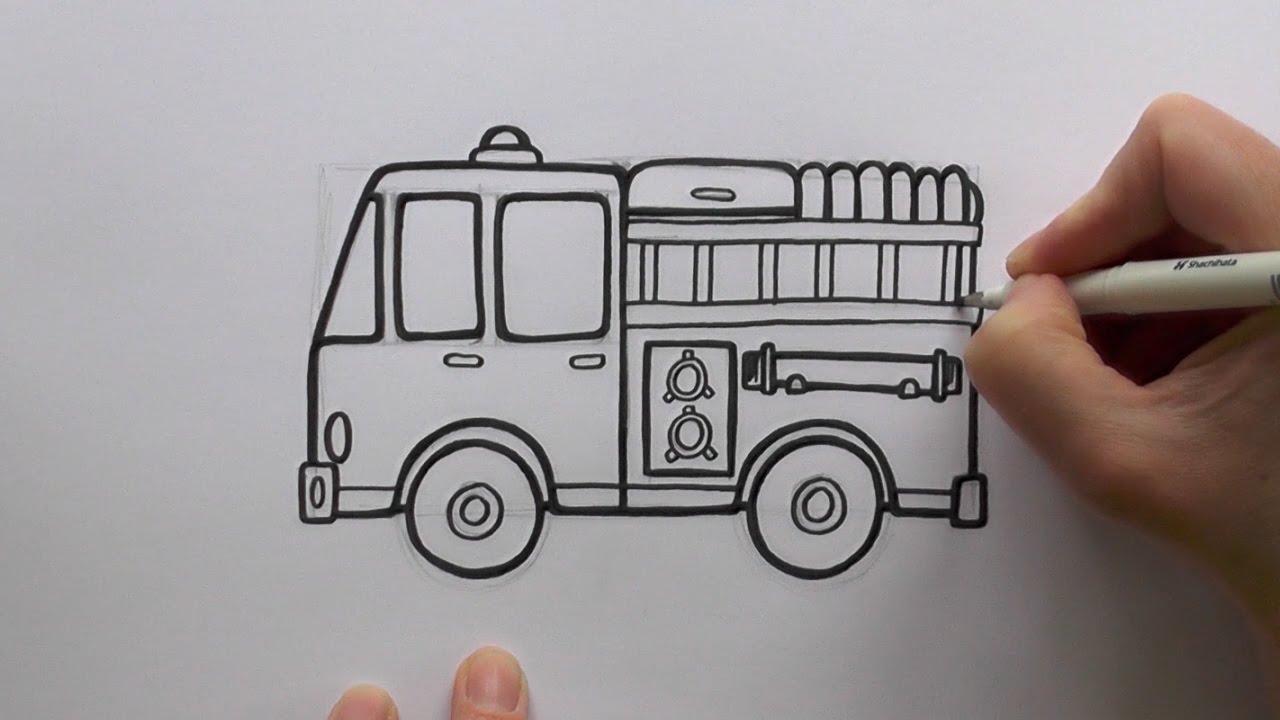 1280x720 How To Draw A Cartoon Fire Engine (Fire Truck)
