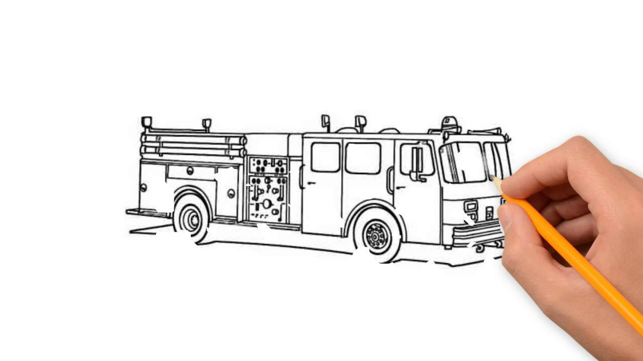 1280x720 Simple Pencil Drawings For Truck Fire Truck Transport Pencil