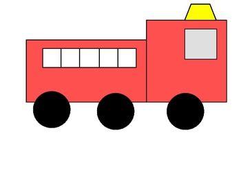 350x270 Simple Shape Fire Truck Sracmbled Sentence Craft Simple Shapes
