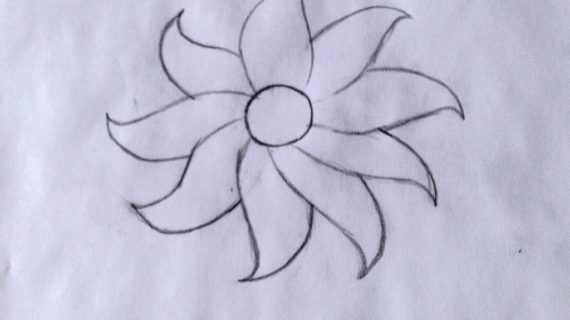 570x320 How To Draw A Flower Easy Simple Flower Drawing How To Draw Flower