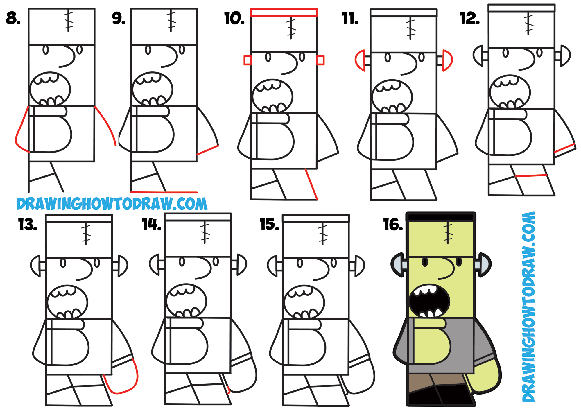 2000x1425 How To Draw Cartoon Frankenstein's Monster From Frank Word