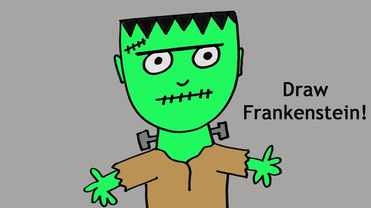 1280x720 How To Draw A Cute Cartoon Frankenstein Monster For Halloween
