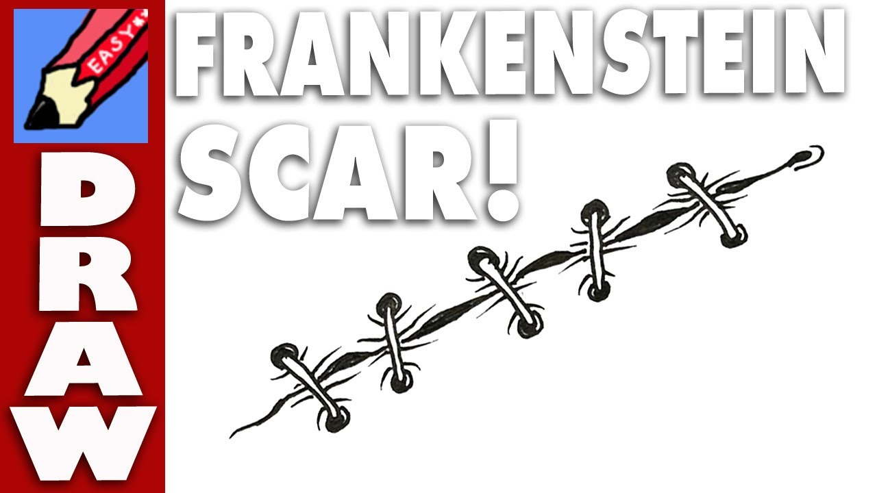 1280x720 How To Draw A Frankenstein Scar Real Easy
