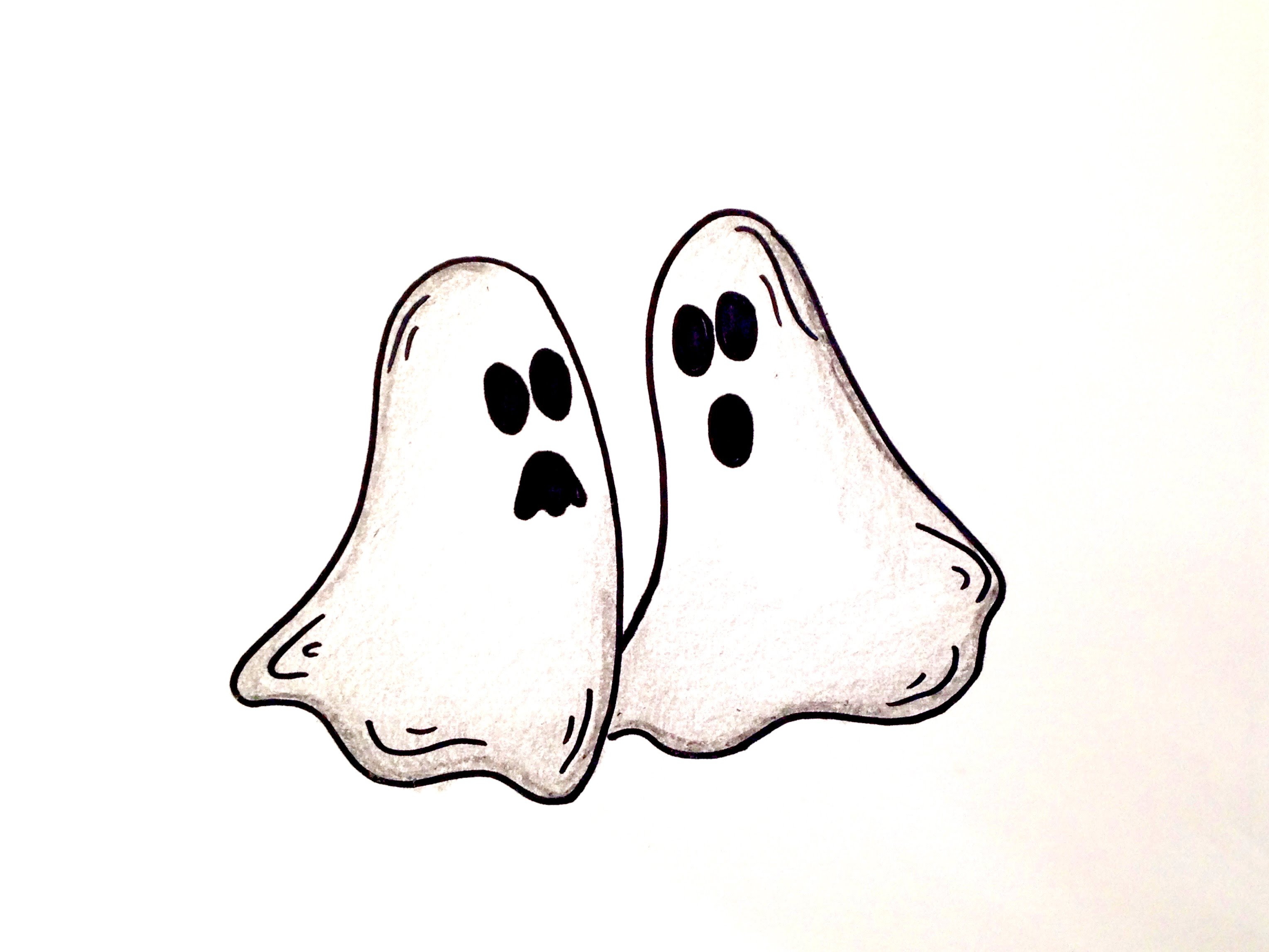 3058x2294 Drawing Lesson How To Draw Halloween Ghosts