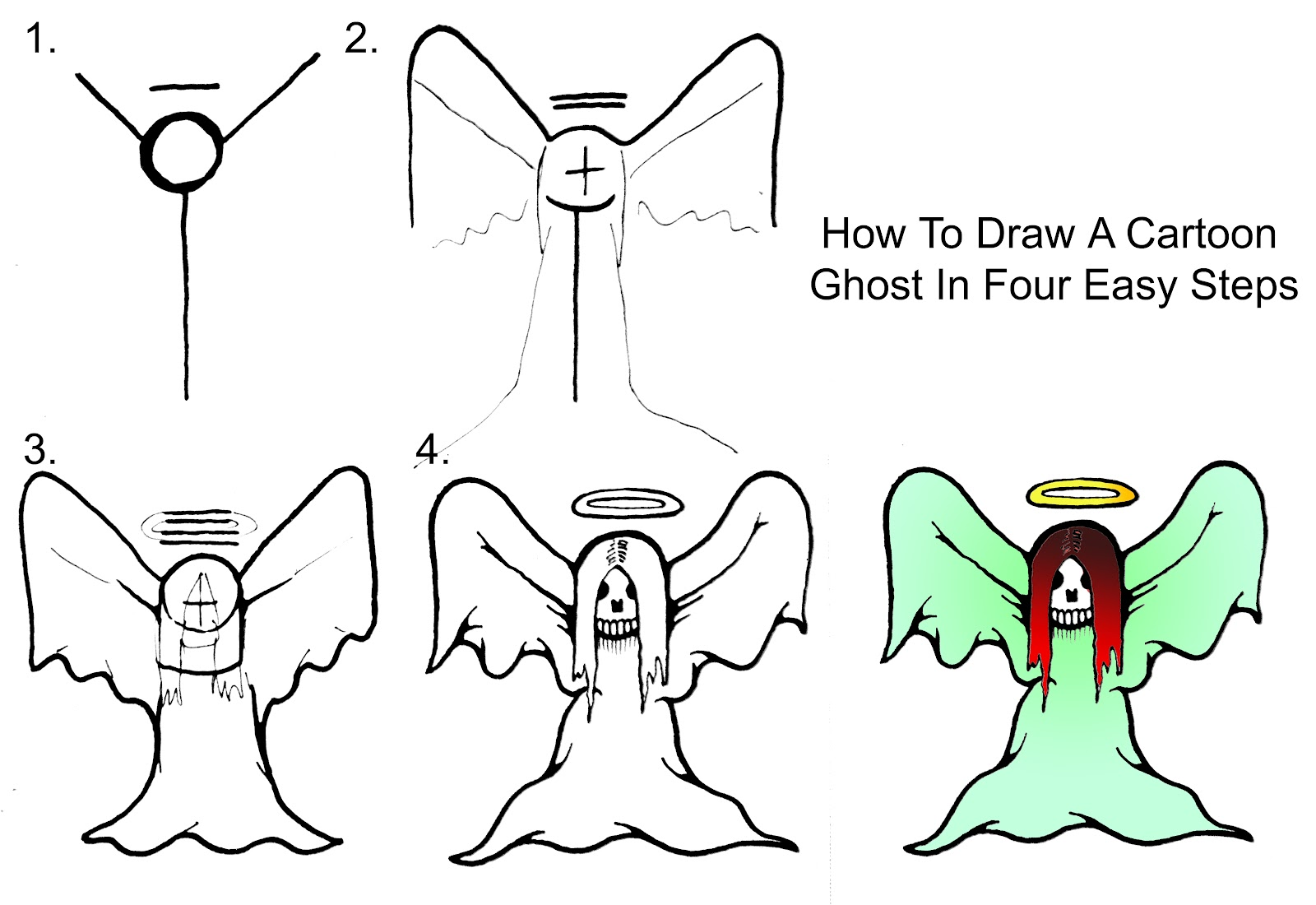 1600x1100 How To Draw A Cartoon Ghost Step By Step Daryl Hobson Artwork